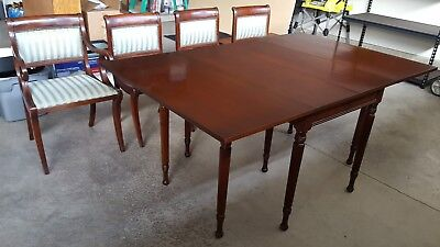 Vintage Drexel Heritage Mahogany Drop Leaf Dining Table with Chairs
