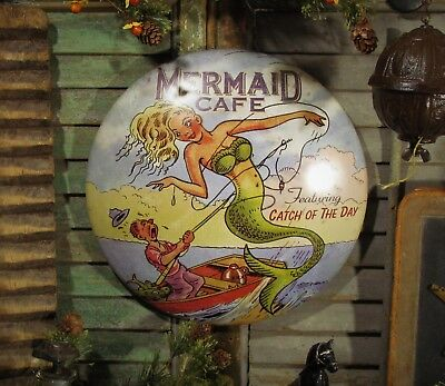 Primitive Antique Vtg Style Mermaid Cafe Catch of the Day Round Dome Tin Sign