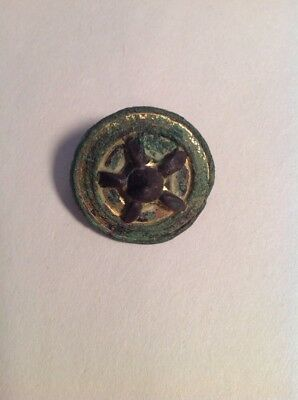 Ancient Roman brooch Celtic Gold Spoked Chariot Wheel 300-400 A.D. Bronze Iron