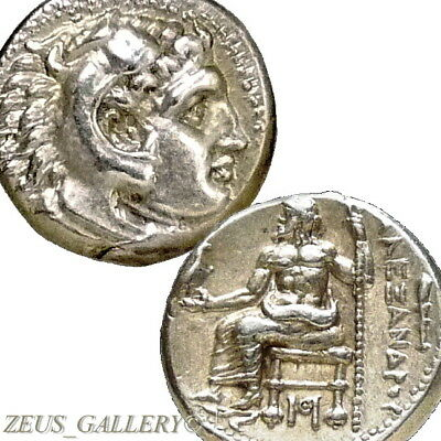 RARE Lifetime ALEXANDER the Great Coin Herakles CLUB Ancient Greek Silver Drachm
