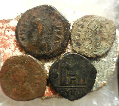 Lot of 4 Ancient Byzantine Coins, Largest 32 mm.