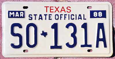 1988 Texas STATE OFFICIAL license plate #SO-131A