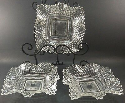 Lot of 3 Vintage clear pressed depression glass trinket nut candy dish dishes