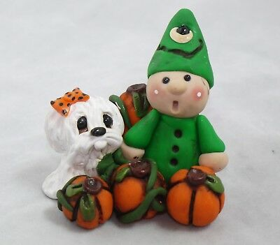 Maltese Halloween Pup Trick Or Treat Spook Collectible Dogs Figurines Pup OOAK