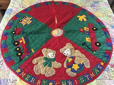 Vintage Inspired Applique Toy Train & Teddy Bears Christmas Tree Skirt Quilt