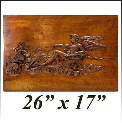 """Superb 26"""" x 17"""" Antique French Hand Carved Wood Panel, Apollo, Chariot"""
