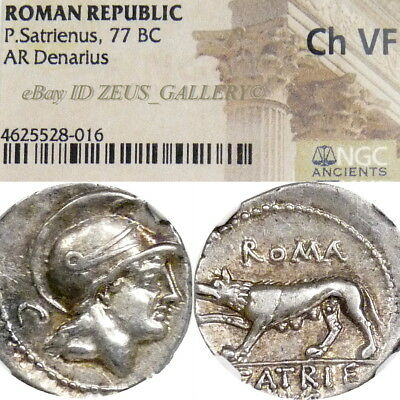 RARE She-WOLF / MARS NGC Certified Choice VF Ancient Roman Silver Denarius Coin