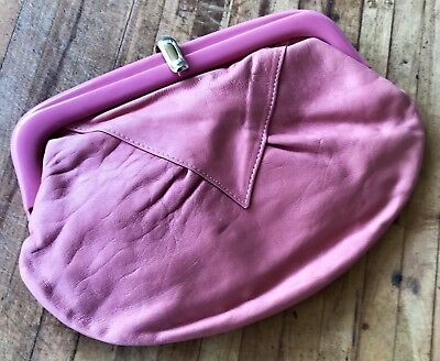 Vintage Pink Leather Clutch Style Handbag Made In Italy 1980s Purse