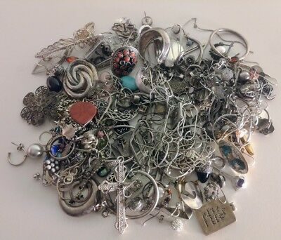 Sterling Silver Jewelry Scrap Mixed Lot 402 grams!