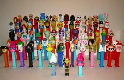 Lot of 80 PEZ Dispensers, Star Wars, Super Heroes, Mickey, Holiday, Disney +