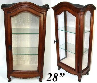 "Antique French 28"" Miniature Bru Doll Sized Armoire, Ebaniste Apprentice Vitrine"