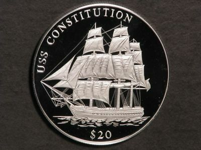 LIBERIA 2000 $20 Ship-USS Constitution Silver Crown Proof