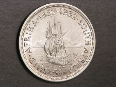 SOUTH AFRICA 1952 5 Shillings Ship Silver Crown XF-AU