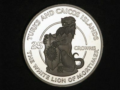 TURKS & CAICOS ISLANDS 1978 25 Crowns White Lion of Mortimer Silver Proof