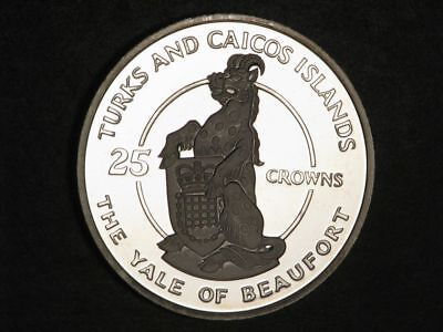 TURKS & CAICOS ISLANDS 1978 25 Crowns Yale of Beaufort Silver Choice Proof