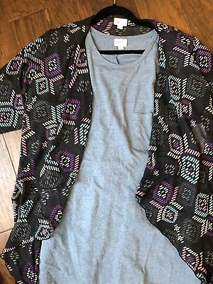 New NWT Lularoe Outfit Carly Dress Shirley Kimono Blue Medium Black Pink Purple