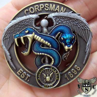 "Navy And Marine Corps Blue Green Corpsman Devil Doc Flip 2"" 3D Challenge Coin"