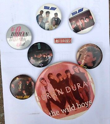 LOT Of 8 Vintage Duran Duran buttons pins 1980s Fan Club Notorious