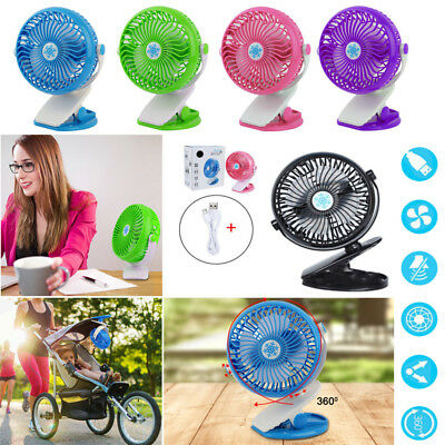 360° Portable Fan USB Rechargeable Mini Oscillating Clip On Desk/Strollers AU