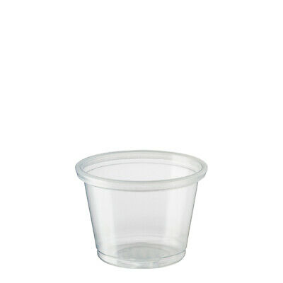 125x Clear Plastic Portion Cup Round 30mL Disposable Condiments Sauce Sample NEW