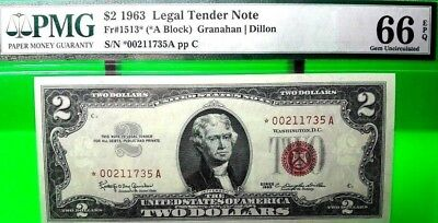 Money Us $2 1963 Legal Tender Star Note Pmg Gem Unc Fr #1513* Value $360