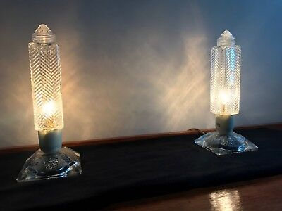 PAIR OF 1930s AMERICAN ART DECO 'SKYSCRAPER' TABLE LAMPS.  LOVELY CONDITION.