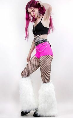 UV White Fluffy Leg Warmers Fluffies Rave Costume Cosplay Dance Long Faux Fur