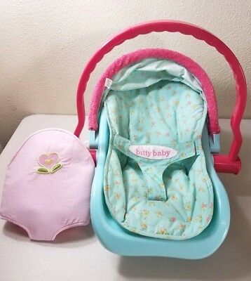 Bitty Baby Doll Blue Pink Floral Car Seat Carrier W Soft Body
