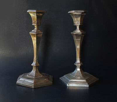 Pair of Antique Sterling Silver Hexagonal Cement Filled 925 Candlesticks