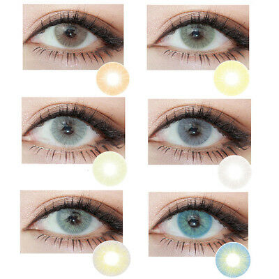 1 Pair Big Eyes Natural Comfort Men Women Circle Coloured Contact Lenses Nuevo
