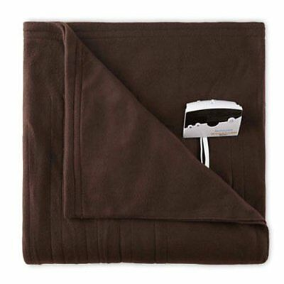 Pure Warmth Comfort Knit Twin Heated Electric Blanket Chocolate