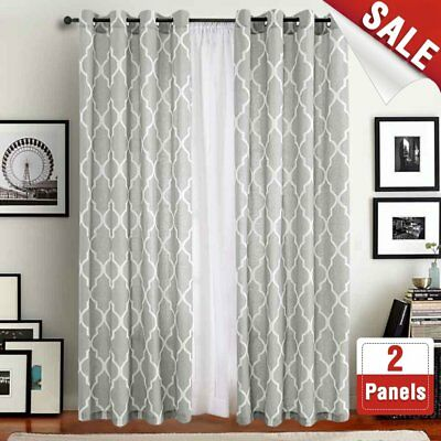 Moroccan Tile Pattern Linen Curtains 108 Inch Long For