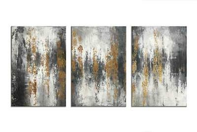 Abstract Wall Art Hand Painted 3 Panels Modern Canvas Oil Painting Ready to Hang