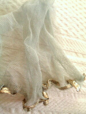 """Ethereal Antique 1920's French Blue Tulle With Metallic Edge 5"""" By 5"""""""