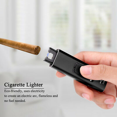 USB Rechargeable Aluminum Lighter Electric Arc Plasma Windproof NO Flame NO Gas