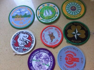 8 Girl Guide Cloth Round Badges Vintage New Thinking Day