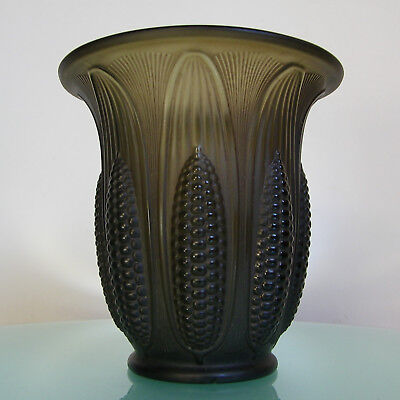 "Luxval 1935 Vase Art Deco "" Maïs "" Val St Lambert Antique Belgian Molded Glass"