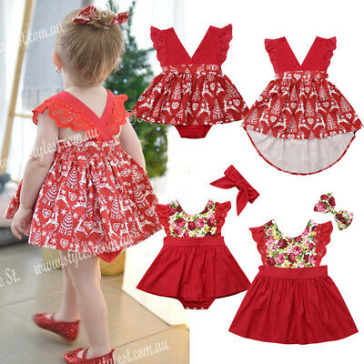 AU Christmas Newborn Baby Girl Sister Matching Floral Romper Dress Skirts Outfit