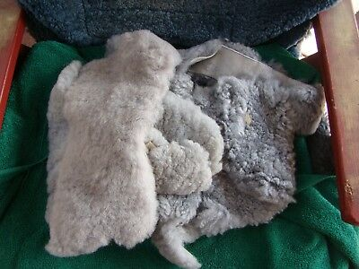 500gms of GREY sheepskin pieces for craft work NEW