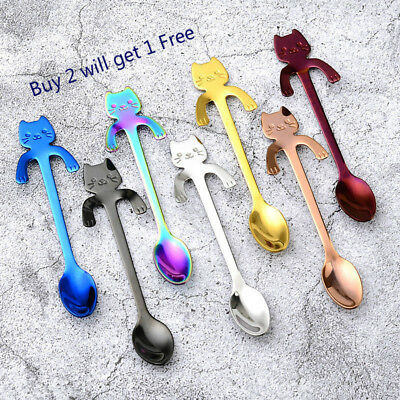 Stainless Steel Tea Coffee Ice Cream Cartoon Cat Spoon Tableware Kitchen Hanging