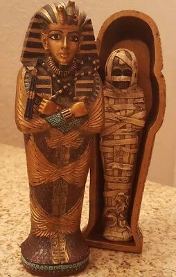 Egyptian  Sarcophagus King Tut Mummy Coffin Burial Tomb Statue Ancient Display
