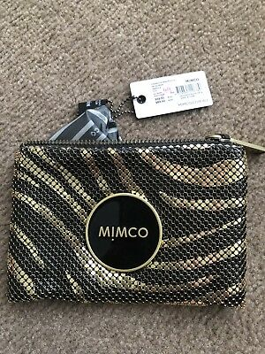 Mimco Small MIM ENAMOUR Pouch Brand New with tags Black And Gold Mesh