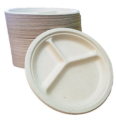 """100% compostable 10"""" - 3 COMPARTMENT DISPOSABLE PLATES - (125 COUNT), made from"""