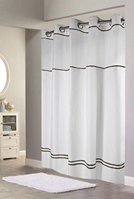 Hookless Escape Shower Curtain With Snap In Liner White Brown Stripe 71