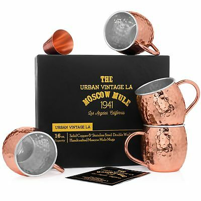 Set of 4 Moscow Mule Copper Mugs with Stainless Steel Lining | Set of 4 Double