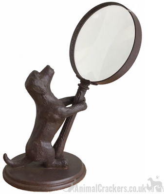 BRONZE EFFECT RABBIT Hare magnifying glass ornament