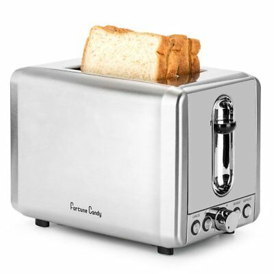 Toaster 2 Slice Stainless Steel, Bagel Toaster, Retro Toaster with Extra Wide