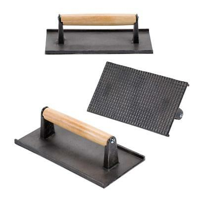 (Set of 3) Cast Iron Steak Weight/Bacon Press with Wooden Handle, 9 x 5-Inch