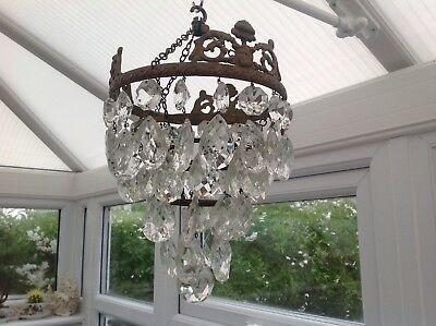 Stunning French Antique Four Tier Crystal Chandelier