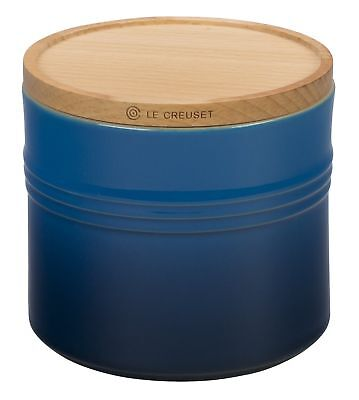 "Le Creuset 5 Stoneware 1/2"" Canister with Wood Lid, 1 1/2 quart, Marseille"